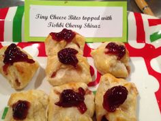 Tiny Cheesy Pastry Bites topped with Tishbi Cherry Shiraz   Delicious tiny bites for any Holiday get-together!   *Recipe by Chef Yvonne Hoffman