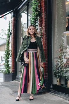Rainbow maxi skirt. Date night outfit idea. Pleated skirt.