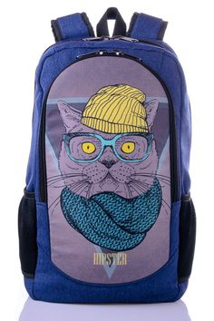 SALE 20% OFF Cat print backpack Canvas rucksack Roomy backpack hipster Stylish backpack Men's backpack Canvas book bag Gift for hipster (32.00 USD) by XYZbag