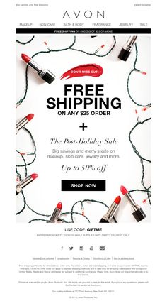 AVON - FREE Shipping and up to 50% off at the Post-Holiday Sale