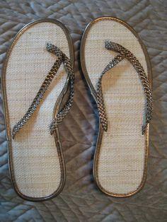 330eb08915 GAP Braided Straps and Rattan flip flops size 9 Bronze metallic NWT!  #fashion #