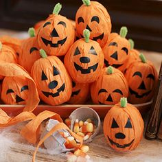 Pumpkin Hatch -- Fill egg-carton cups with candy and wrap with orange streamers…