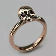 Small Skull Ring in 9ct & 18ct Rose Gold & Ruby - Women's Skull Jewellery - Quality Designer Jewellery - Stephen Einhorn London