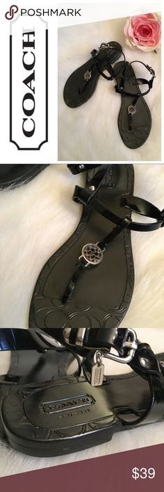 Coach Pansy Jellys Worn literally one time, these Coach black Pansy jelly's are perfect for any occasion. Only the slightest of wear shows on bottom. Adorable Coach charm. Coach Shoes Sandals