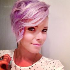 Purple Hair, shaved head... actually very pretty... :)