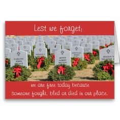 Shop Christmas Wreaths for Veterans, Lest we forget. Holiday Card created by PicturesByDesign. Holiday Cards, Christmas Cards, National Cemetery, Lest We Forget, Smudging, Paper Texture, Houston, Christmas Wreaths, Random