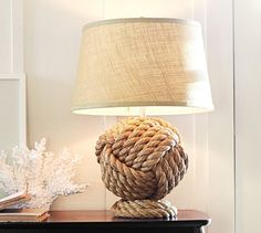Rope Knot Table Lamp Base | Pottery Barn, $150. Could easily DIY by wrapping rope around an existing lamp base. Also love the piece of decorative coral.