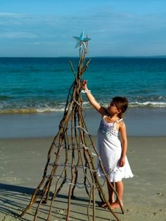 If I ever went on vacation during Christmas and was on a beach, I would make this tree. Just pack some batteries operated lights.