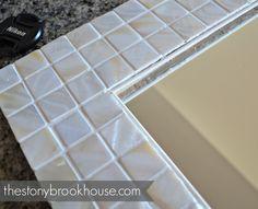 The Stonybrook House: How To Make A Custom Tiled Mirror Diy Mirror Frame Bathroom, Entry Mirror, Mirror Trim, Mirror Mosaic, Mosaic Diy, Mirror Tiles, Small Bathroom, Cheap Mirrors, Houses