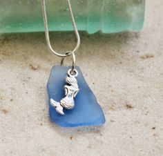 Mermaid Necklace, Cornflower Blue Texas Sea Glass Beachy Necklace, Birthday gift for Best Friend, Mom, Daughter, CoWorker, Boss Lady, Cuz