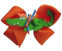 Picture Perfect Alligator Hair Bow- A Must for any little Gator Girl!