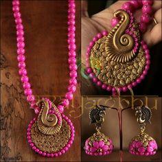 Handmade clay necklace earrings jhumkas