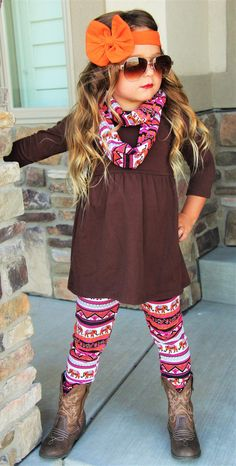 SALE! 3-Pc Fall Harvest Brown Top Hot Pink Elephant Aztec Legging Pant Boutique Set Outfit w/ Infinity Scarf Toddler Girls Sizes 1-2 to 6-7