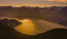 golden squamish sunset from way above - Many thousands of feet up above Howe Sound was this beautiful sunset. Cheap Plane Tickets, Beautiful Sunset, Earth, Mountains, World, Nature, Landscapes, Photography, Travel