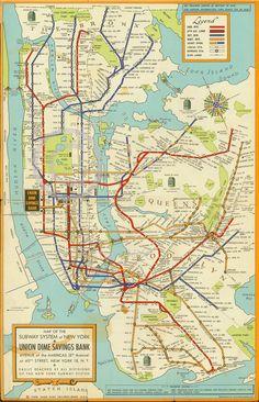 "1948 Large New York City Subway Map MTA Manhattan Brooklyn Art Deco 36"" by 54""   eBay"