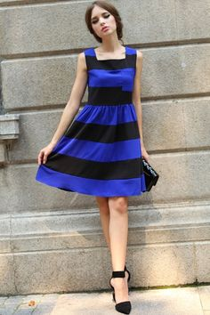 Dress crafted in knitting, featuring round neck, sleeveless styling, stripes to main with color block design, bound waist, zipped closure to side, in knee length cut.$78
