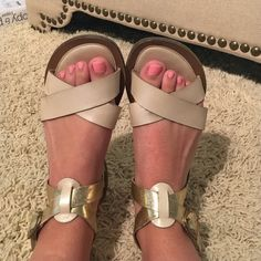 Nude/Gold Leather Sandals Size 8.5, gold and nude leather sandals with buckles. These are SUPER comfy! A little wear but no tear! Great go-to summer sandals Diba True Shoes Sandals