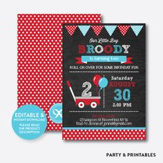 Red Wagon Chalkbo... http://partyandprintables.com/products/red-wagon-chalkboard-kids-birthday-invitation-editable-instant-download-ckb-184?utm_campaign=social_autopilot&utm_source=pin&utm_medium=pin #partyprintables #birthdayinvitation #partysupplies #partydecor #kidsbirthday #babyshower