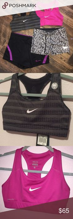 Nike Bundle 2 sports bra! Pink only worn twice, black is nwt.                            1 spandex black and white new with tags                                     1 short black and purple nwot                                                        Can also purchase separate in other listings. All size XS Nike Intimates & Sleepwear Bras