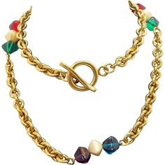 Bold Long Heavy Funky Chunky Goldtone Metal Necklace with Colorful Beaded Accents. Vintage Jewelry under $25 at Ruby Lane @Ruby Lane