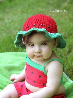 3f739952da2 Crochet Watermelon Sun Hat FREE Kids Crochet Hats Free Pattern