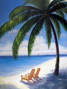 Tahiti Hawaii Beach Chairs Sand Shore X-L Oil Painting | eBay