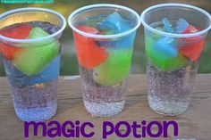 Kool Aid Cubes ~ Kids will get a kick out of this fun magic potion trick! Simply freeze different colors of Kool Aid in ice cube trays. Add the Kool Aid cubes to a glass of lemon-lime soda and as th (Cool Food Crafts) Party Drinks, Fun Drinks, Yummy Drinks, Yummy Food, Mixed Drinks, Vodka Drinks, Drinks Alcohol, Liquor Drinks, Alcohol Recipes