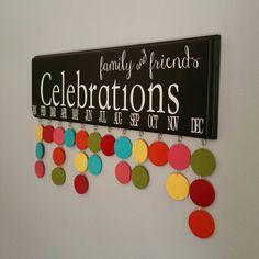 Family Birthday Board. Family & Friends CELEBRATIONS, Birthday Calendar organizer by JackiesCraftShop on Etsy https://www.etsy.com/listing/253749002/family-birthday-board-family-friends
