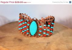ON SALE Turquoise Bone Red Copper Wire Wrapped  by SoulfulStuff, $25.20