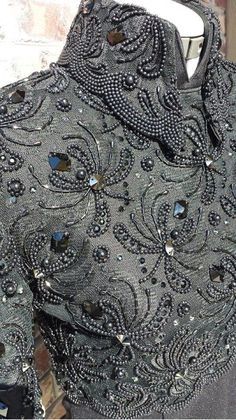 Sophisticated patterns, gimp, beads and sequins in beautiful embroidery haute couture - Fair Masters - handmade, handmade Tambour Beading, Tambour Embroidery, Couture Embroidery, Embroidery Fashion, Embroidery Stitches, Embroidery Patterns, Hand Embroidery, Pearl Embroidery, Western Show Clothes