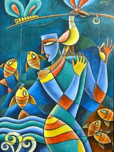 abstract paintings of indian artists Modern Art Paintings, Indian Paintings, Abstract Paintings, Action Painting, Arte Krishna, Indian Contemporary Art, Krishna Painting, Indian Artist, Art Original