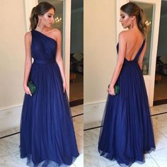 Cheap Royal Blue Evening Dresses Long 2020 robe de soiree One Shoulder Backless Prom Gowns A Line Handmade Formal Party Dress Backless Prom Dresses, A Line Prom Dresses, Tulle Prom Dress, Blue Bridesmaid Dresses, Prom Gowns, Maxi Dresses, Party Dresses, Evening Party Gowns, Cheap Evening Dresses