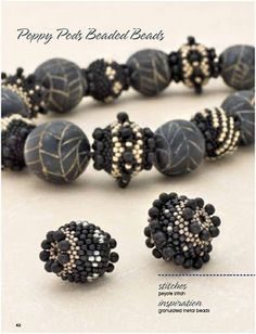 """""""Poppy Pods Beaded Beads"""" featured in Maggie Roschyk's book """"Artistic Seed Bead Jewelry: Ideas and Techniques for Original Designs"""" published by Kalmbach Publishing."""