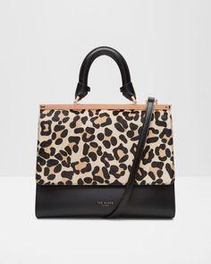 11fed47ea Leopard print leather bag - Black