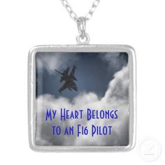 $26.95 F-16 Fighting Falcon in the Cloudy Sky Personalized Necklace. My Heart Belongs to an F16 Pilot. F16 Fighting Falcon flying in the sky through the clouds. Military Jets at Nellis Air Force Base in Las Vegas, Nevada. The F-16 Fighting Falcon is a compact, multi-role fighter aircraft. It provides a relatively low-cost, high-performance weapon system for the United States and allied nations. Read more at www.AF.mil