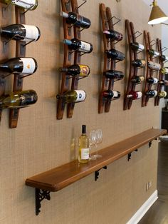 Wine rack on a wall. I don't even drink wine but i like this a lot.