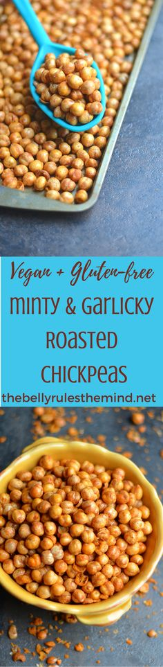 Learn how to roast chickpeas in the oven turning them into a nutritious high protein snack recipe. It's vegan, and gluten-free too! @Bellyrulesdmind ##chickpea  #snack #protein #veganfood #glutenfreerecipes #baked