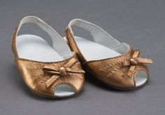 Bronze metallic open-toe doll shoe