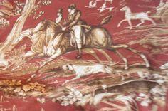 Braemore Equestrian HUNT GARNET Decorative Fabric, horse, deer #Braemore