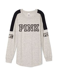 Varsity Tee - PINK - Victoria's Secret from Victoria's Secret. Victoria Secret Rosa, Victoria Secret Outfits, Pink Outfits, Fall Outfits, Cute Outfits, Edgy Outfits, Fashion Mode, Womens Fashion, Pink Brand