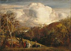 Samuel Palmer - 1833-34c The Bright Cloud tempera on mahogany 23.3 x 32 cm Manchester City Art Gallery, UK
