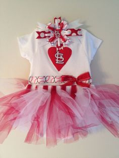 St Louis Cardinals Heart Onesie Tutu and Hair by LittleBitsByJulie, $25.00....only if it were Milwaukee brewers