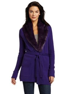 Vince Camuto Women's Shawl Faux Fur Collar Long Belted Cardigan