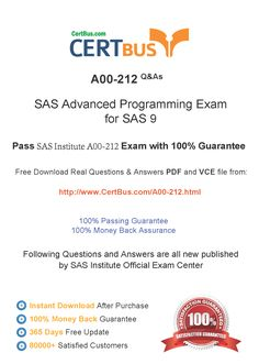 Candidate need to purchase the latest SASInstitute A00-212 Dumps with latest SASInstitute A00-212 Exam Questions. Here is a suggestion for you: Here you can find the latest SASInstitute A00-212 New Questions in their SASInstitute A00-212 PDF, SASInstitute A00-212 VCE and SASInstitute A00-212 braindumps. Their SASInstitute A00-212 exam dumps are with the latest SASInstitute A00-212 exam question. With SASInstitute A00-212 pdf dumps, you will be successful.