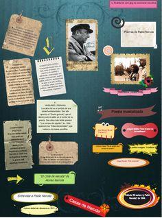 En esta ocasión, M ª Teresa nos ofrece su trabajo dedicado a uno de sus poetas favoritos, Neruda. Hay vínculos varios que nos llevan a textos, vídeos, poemas musicalizados, películas, entrevista etc con el poeta como protagonista.