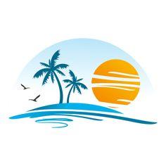 Mo Design, Beach Design, Beach Logo, Logo Image, Tree Artwork, Artist Logo, Sunset Art, Travel Logo, Create A Logo