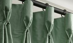 GOBLET PLEATS - Goblet is more formal for . --Pleat Talk: Here's an easy crash course for buying drapes Drapes And Blinds, Pleated Curtains, Drapery Panels, Drapery Fabric, Drapery Designs, Drapery Ideas, Curtain Styles, Custom Window Treatments, Drapery Hardware