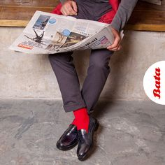 Kick off the day with a pop of color and stay stylish all day long with Italian Leather Loafers by Bata. Bata Shoes, Men's Shoes, Italian Loafers, Leather Loafers, Shoe Collection, Italian Leather, Moccasins, Color Pop, Toms