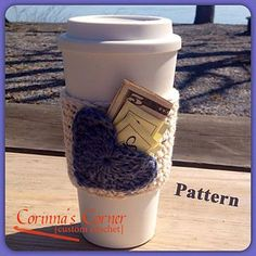 This is a basic drink sleeve with heart applique that can be attached to form a pocket for your favorite sweetener or a few bucks to make a complete gift ;)