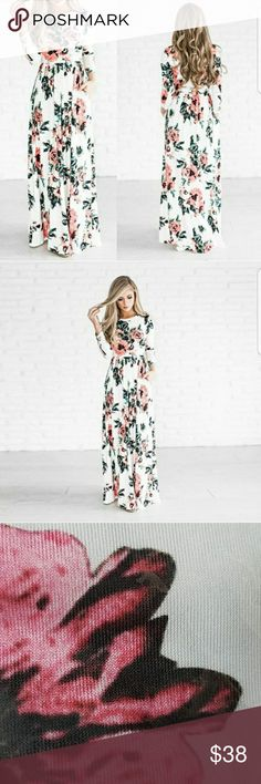 """Mother's Day Sale! Special Weekend Price!  The Lydia - Floral Maxi Dress with 3/4 Sleeves. Gorgeous Floral Print. Sleeves are a little wide than pictured. Lightweight and Stretchy Polyester/ Spandex blend. See Chart for Measurements.  Last two pics are of me modeling the dress. I'm wearing a size medium and it comes down to my ankles. I am 5'7"""" and 140lbs. My chest is a 32 C. Dresses Maxi"""